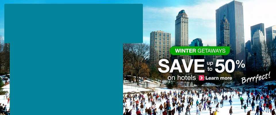 Winter getaways, save up to 50% off on hotels  at Orbitz.com